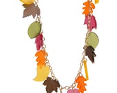 Autumn Leaves charm necklace - laser cut frosted acrylic