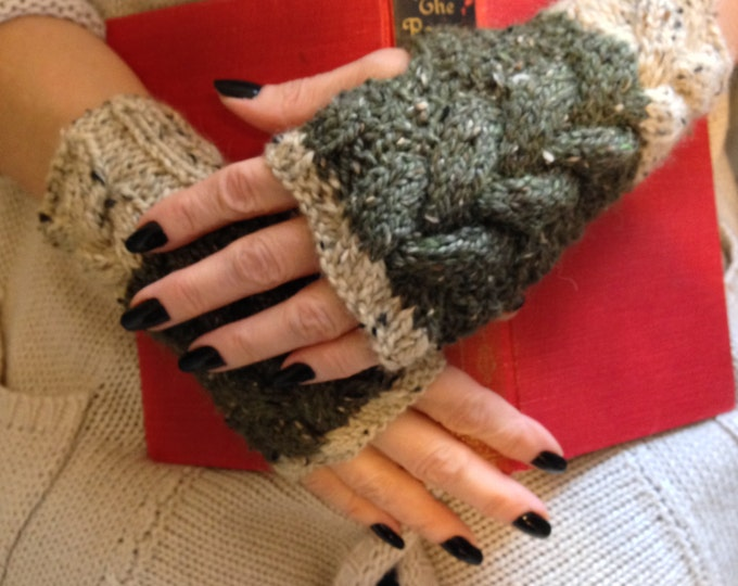 Cable Knit Fingerless Mitts, Chunky Knit Fingerless Mitts, Alpaca & Merino Wool Mitts, Tweed Mitts, Oatmeal and Olive Fingerless Gloves