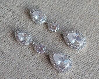 Estate Earrings - CZ and Crystal Earrings - Formal Bridal Earrings - Estate Style Wedding Earrings, Wedding Jewelry, Bridal Jewelry