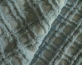 "DOWNSIZING SHOP SALE...Blue Waffle Chenille Vintage Bedspread Fabric Piece...12 x 24"""