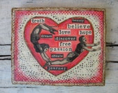 Wedding gift, love art, heart collage, falling in love, affordable original art, anniversary present, circus acrobats