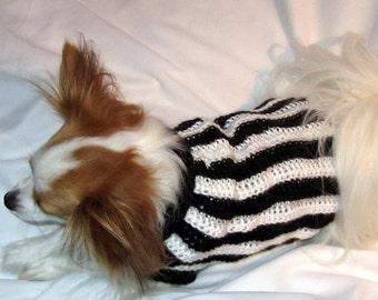Medium - Black and White Striped Crocheted Dog Sweater