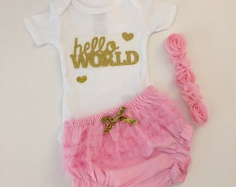 Baby Girls take home outfit- Personalized Baby Girls onesie - Hello World-  ruffle bloomers with flowered headband- Monogram- So sweet.
