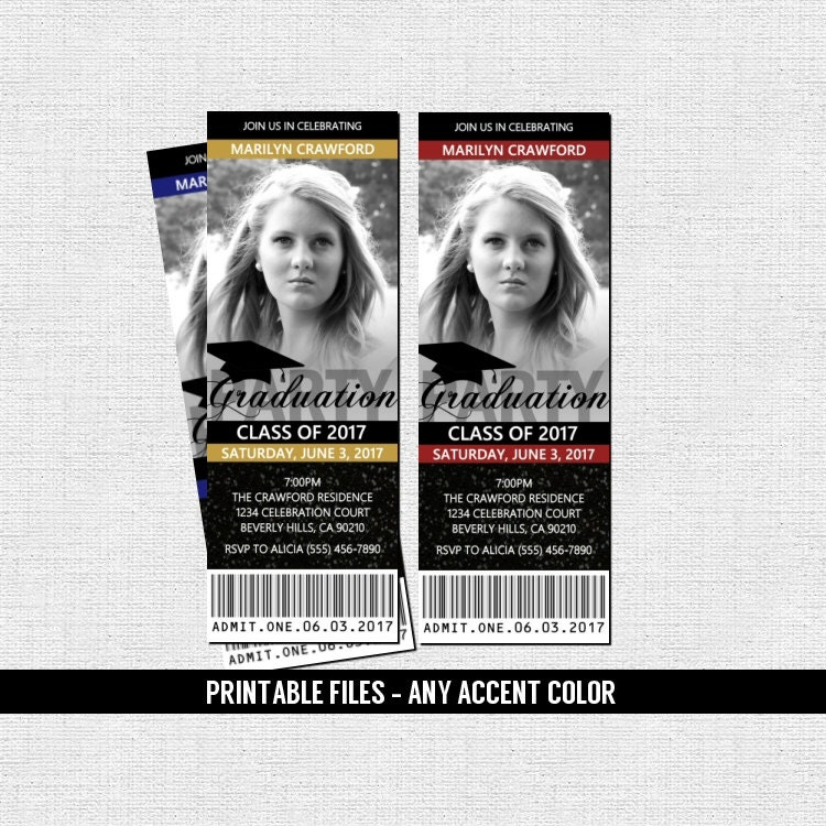 GRADUATION PARTY TICKET Invitations or Announcement Class of
