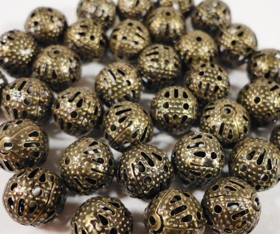 Bronze Filigree Beads, 8mm Round Aluminum Lightweight Hollow Beads, Antique Brass Metal Spacer Beads 30 Loose Beads for Jewelry Making