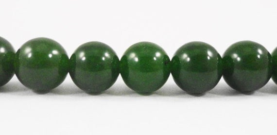 "Candy Jade Beads 8mm Round Stone Beads, Forest Green Jade Gemstone Beads, Dyed Mountain Jade Beads on a 7 1/2"" Strand with 24 Beads"