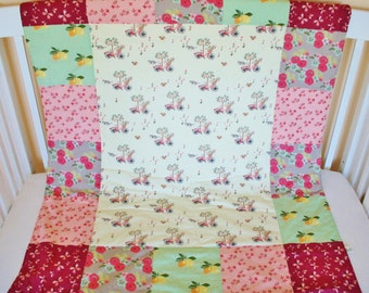 Organic Baby Quilt,  Organic Toddler Quilt, Modern Quilt, Bloom, Kitties, Floral, Baby Girl