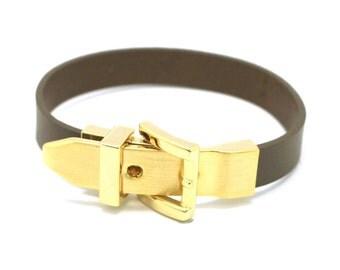 150 GOLD-Leather Buckle Bracelet - Khaki Grey