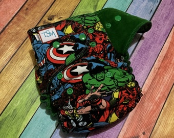 One-Size Hybrid Fitted Cloth Diaper in 'Marvel'