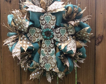 Cross Burlap Door Wreath