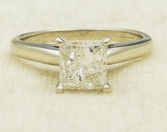 Elegant Glitzy 14K White Gold 1.05ct Princess Natural Diamond I2/I Solitaire Engagement Ring Size 6 - 2.8 grams FREE SHIPPING!