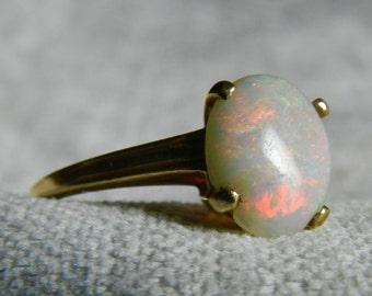 Opal Engagement Ring 14K Gold Art Deco 1940s Opal Ring 14K Australian Opal Engagement Ring Unique Engagement 14K Gold October Birthstone