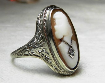 Art Deco Ring 14K White Gold Filigree Cameo Ring Sardonyx Carved Agate Hardstone Diamond Necklace 1920s Cameo Muse Cameo 14K Gold