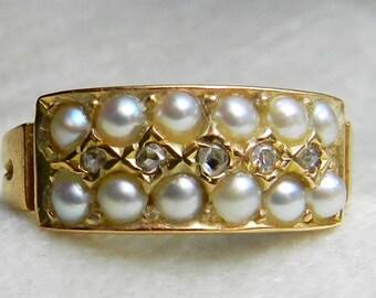 Antique Pearl Rose Cut Diamond Ring 15K UK Gold Genuine Natural Pearl Rose Cut Diamond Wedding Band, Pearl Stacking Ring 1800s