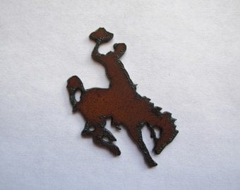 Rustic Metal Bronc Rider Bronco NO HOLE #R4 - Pendant Necklace - You Can Drill Hole or Glue On etc