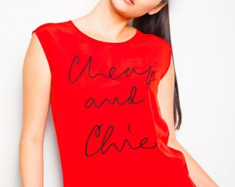 S.A.L.E was 325 now 195 vintage 80s/90s MOSCHINO Cheap And Chic cursive script slogan red sleeveless tank top blouse