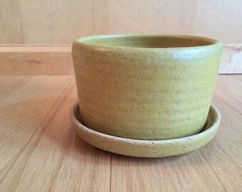 Mid Century mustard yellow stoneware planter