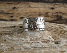 Cowgirl rodeo queen sterling silver hammered spinner ring horse shoe lucky fidget worry meditation