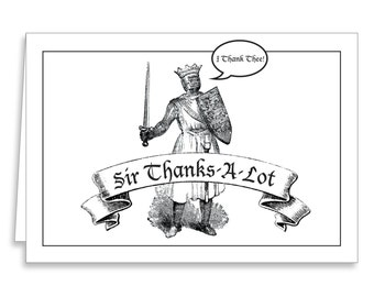 Thank You Medieval Cards Envelopes Sir Lancelot Knight 12 Count -funny greeting birthday christmas stationery party gag gift notes favors