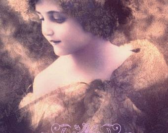Vintage image altered art,Charming Girl,pink,decor,vintage art,vintage photo,Image Instant Download.