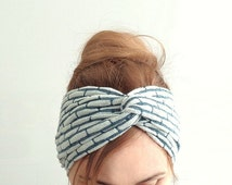 jersey knit headband twist headband knotted turban blue white head wrap head band yoga hair accessory boho trendy earwarmer retro style