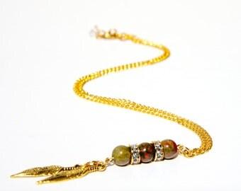 Unakite necklace, crystal necklace, Unakite jewelry, unakite, crystal jewelry, handmade necklace, unakite pendant, unakite stones