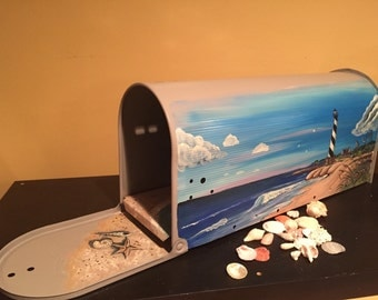 Hand Painted Beach , Lighthouse mailbox -design by Artist,Nautical Decor