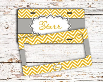Monogrammed gift for teens - License plate or frame monogram - Yellow chevron gray (1006)
