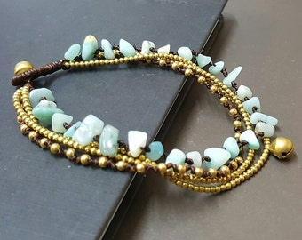 Chip Amazonite  Brass Chain Anklet