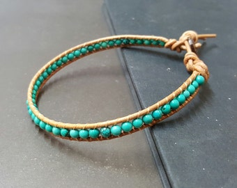 Handmade Natural Turquoise  Leather Anklet