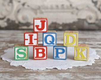Vintage Wooden Toy Blocks wooden alphabet blocks learning blocks children's blocks toy blocks nursery decor photo props