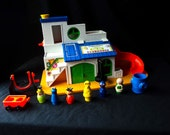 Vintage Fisher Price #937 Play Family Sesame Street Clubhouse Grover Little People Set Near Complete Collectible Toy