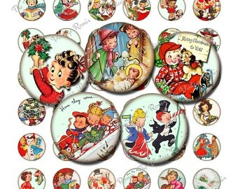 Printable 1 inch round, vintage Christmas graphics. Cute for jewelry, bottle caps, envelope seals, magnets and more!