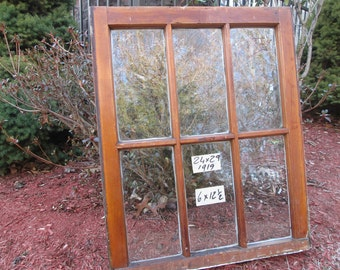 24 x 29 Vintage Antique Window sash old 6 pane from 1919 Arts& Crafts