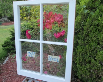 19 x 25 Vintage Window sash old 4 pane frame from 1961 Arts& Crafts