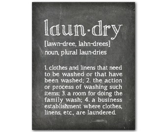 Typography Laundry Definition Laundry Meaning - Laundry Room Wall Art - Room Decor - chalkboard look print - vintage look