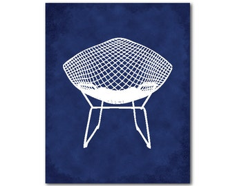 Midcentury chair print - MidCentury modern art - Diamond Chair Silhouette - Harry Bertoia - chair print - chair silhouette