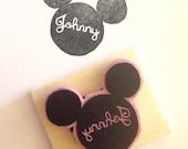 Mickey Custom Name Rubber Stamp, Customized handmade