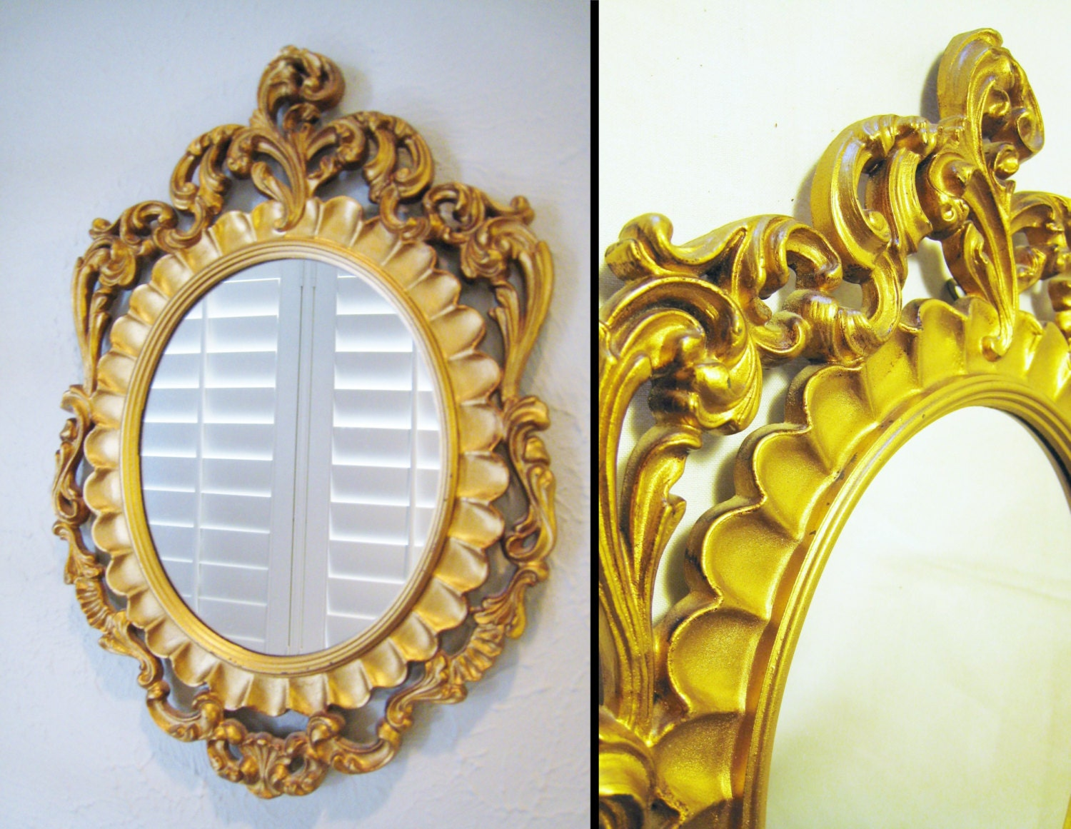 Small ornate oval gold mirror for gallery wall mirror for Small gold mirror