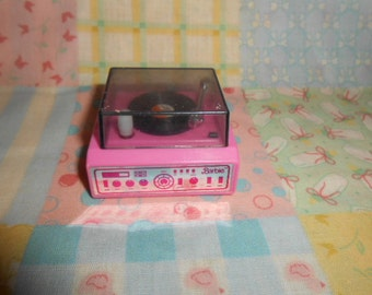 Vintage Macau Barbie Doll Pink Wind Up Stereo Record Player