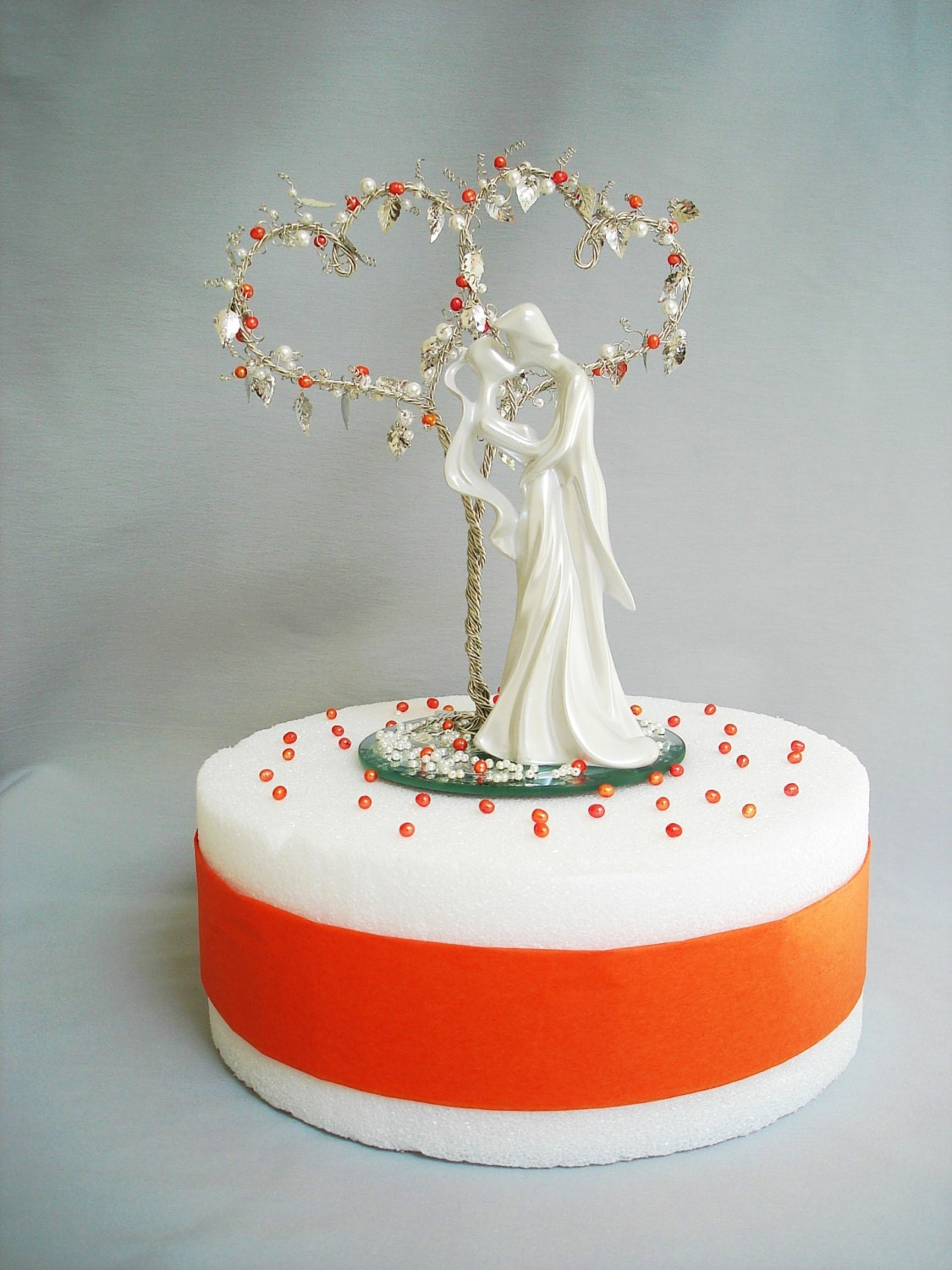 Double Heart Beaded Tree with Figurine Wedding Cake Topper