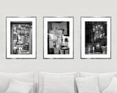 Set of 3 prints, black and white photography, Paris prints, shop window, books photography, extra large wall art set, chandelier art, 24x36