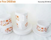 ON SALE Vintage, Teacup, Saucer, Tea Cup, Arcopal, France, Scania, Coffee, Cups, Set of Four, Pink, Orange, Flowers, Cottage Chic, 1970's, S