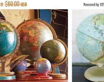 "ON SALE Vintage, Rand McNally, 12"", World, Globe, World Portrait Globe, Map, USA, Mid Century Modern, Silvery Gold Tone Metal Base, World Gl"