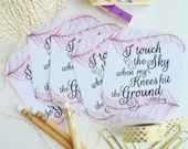i touch the sky - Hillsong lyrics / set of 6 journaling / bible journaling cards