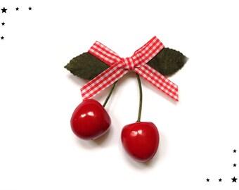 hair bow hair clip barrette rockabilly cherries 50s