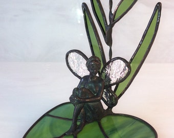 woodland fairy nymph with lavender flower, stained glass
