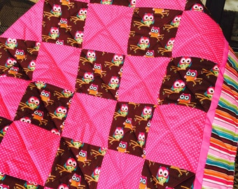 Owl Crib Quilt in Pink & Brown