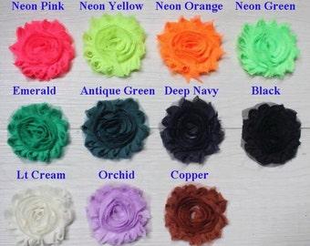 "50 SOLID Shabby Flowers ~ 2.5"" Chiffon Flowers"