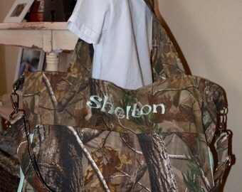 Handmade personalized busy mom's camo diaper bag